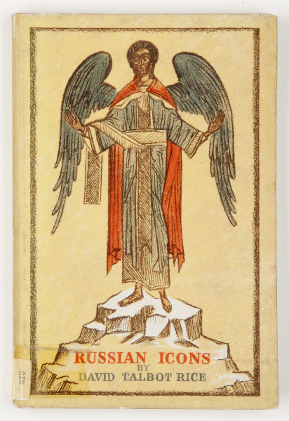 Print of large winged person standing on a rock wearing a red cape and long blue-grey tunic, with arms outstrecthed